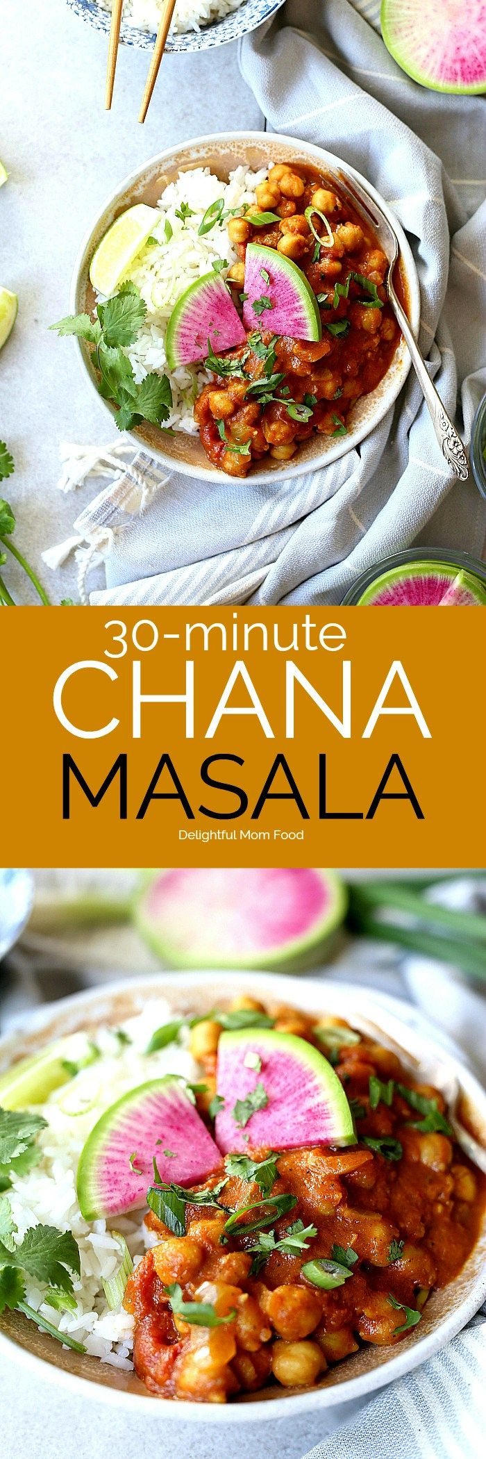This 30-minute easy and healthy Indian Chana Masala recipe is made in 1-pot and simmered to delicious and nutritious perfection in coconut curry spices and a tomato base! Not only is it plump with chickpeas- it is vegan, gluten free and delicious tossed with rice or served with a side of roasted vegetables. #vegan #chana #masala #easy #healthy #glutenfree #chickpeas #recipe   Delightfulmomfood.com