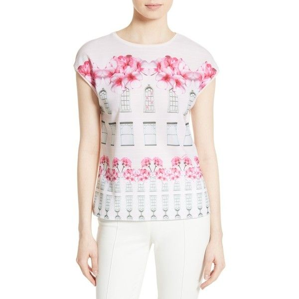 Women's Ted Baker London Pauwla Floral Tee ($95) ❤ liked on Polyvore featuring tops, t-shirts, baby pink, white t shirt, white top, white knit top, floral tee and knit top