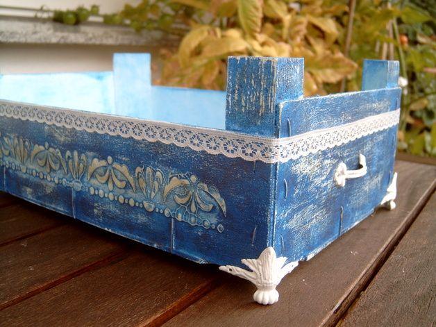 kiste mandarinenkiste box mit metallf en und deko metallgriffen blau wei im shabby chic. Black Bedroom Furniture Sets. Home Design Ideas