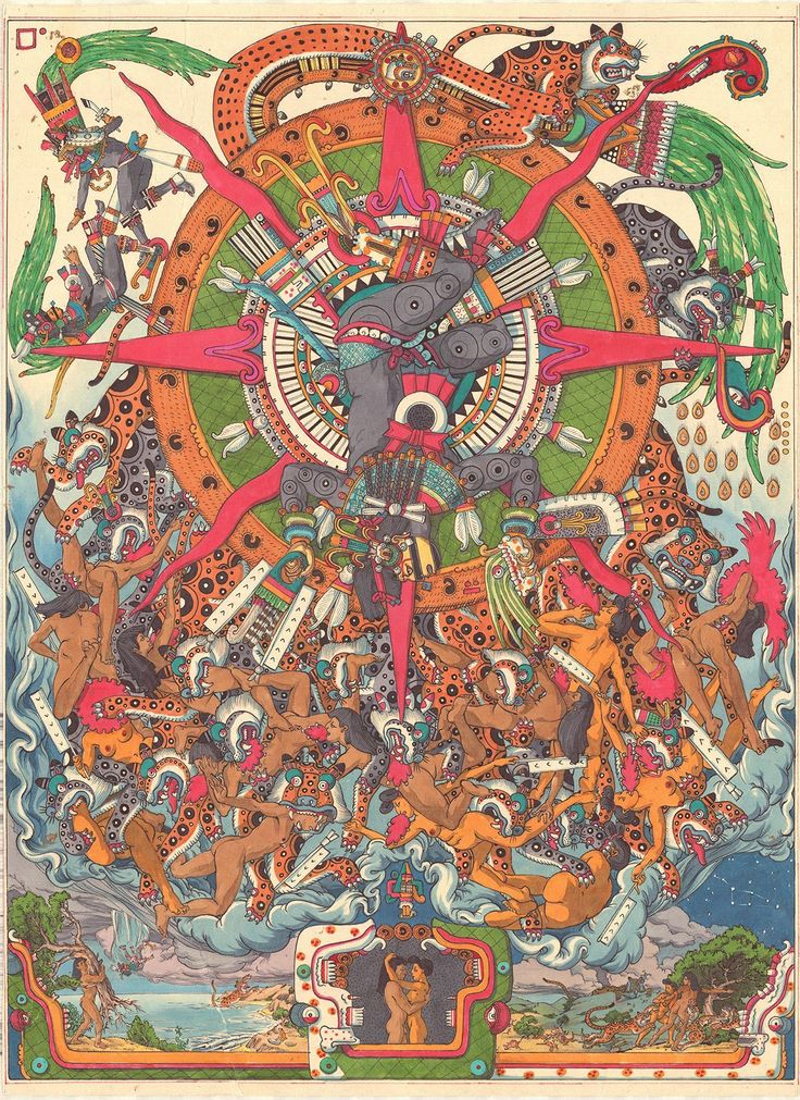 The first sun, Nahui Ocelotl, in which the sun was ruled by Tezcatlipoca. In the sun, the inhabitants were giants, and on the day Four Jaguar, jaguars descended from the heavens and devoured the inhabitants. The first of the four suns prior to the present, Fifth Sun.