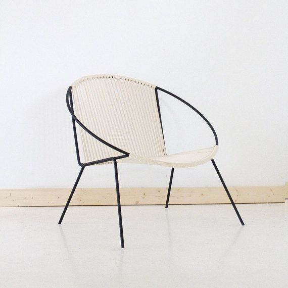 READY TO SHIP Welded Steel Black Frame Woven Hoop Circle Chair