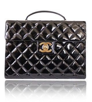 Chanel Patent Leather Brief Case Business Laptop Bag $2,800