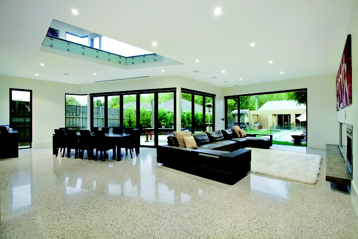 Polished Concrete Floors - the high gloss finish really contrasts the softer furnishings
