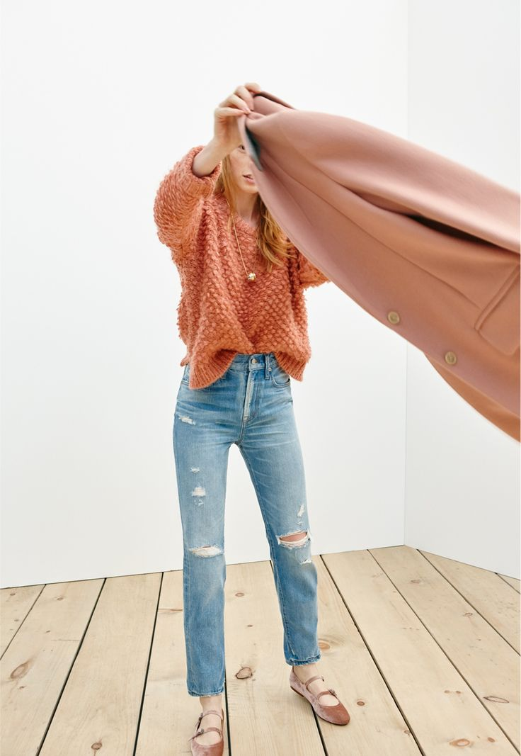 madewell perfect vintage jean worn with the popstitch sweater, velvet julie flat + teatro swing coat.