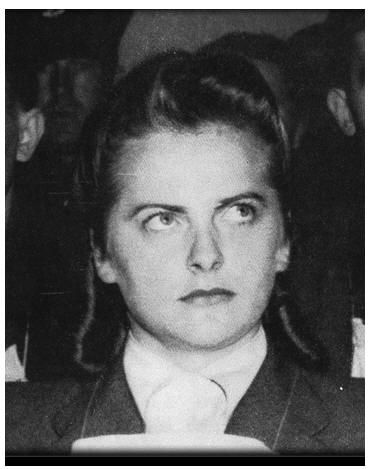 Irma Grese at trial. She was executed for her acts of sadism, beatings and arbitrary shootings of prisoners in the concentration camp Bergen Belsen. http://servv89pn0aj.sn.sourcedns.com/~gbpprorg/judicial-inc/Irma_Gasd18.jpg
