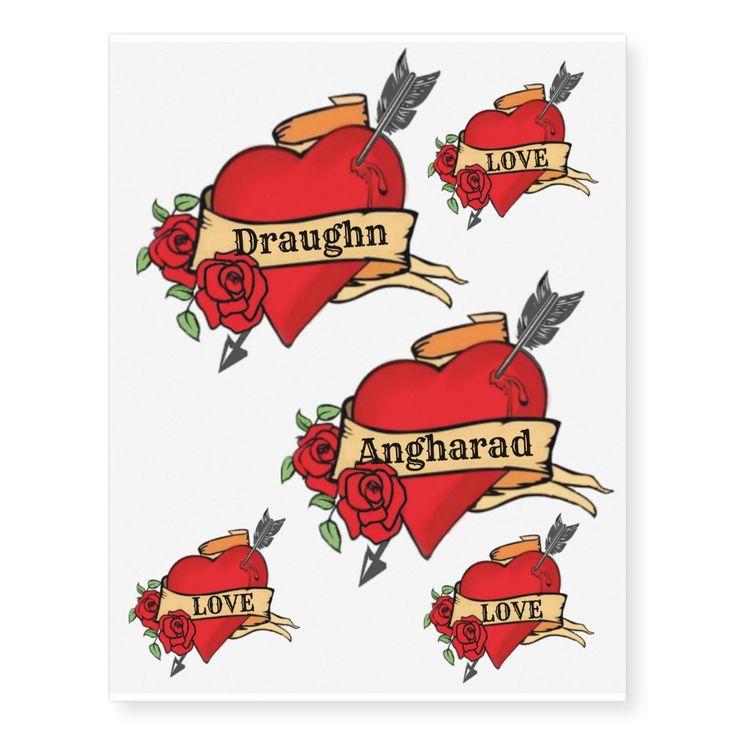 Custom Name Vintage Heart With Roses & Arrow Temporary Tattoos