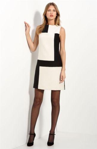 NWT-Milly-Black-Ivory-Colorblock-Wool-Jacquard-Mina-Shift-Dress-Size-4-435