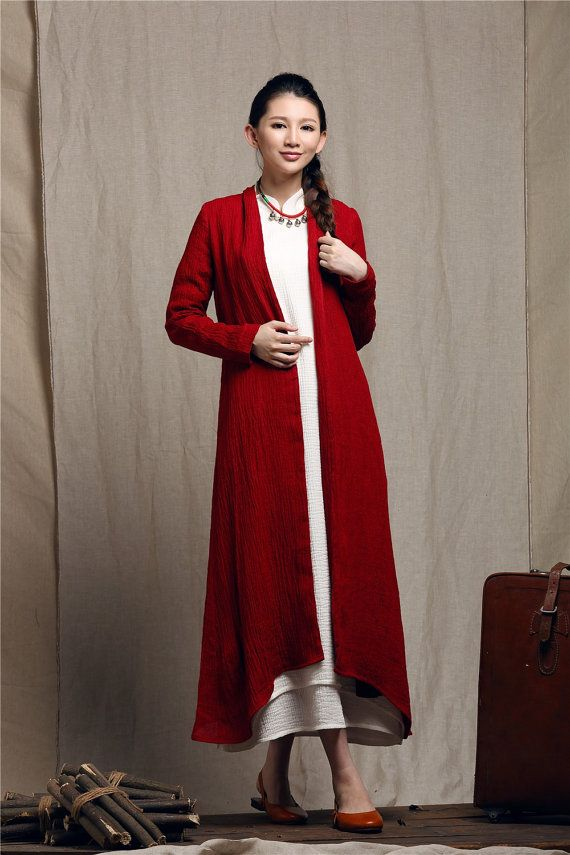 linen trenchcoat in red / maxi coat / maxi swing by camelliatune