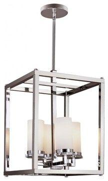 Four Light Polished Chrome White Opal Decanters Glass Foyer Hall Pendant - transitional - Ceiling Lighting - We Got Lites