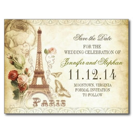Vintage Paris Save The Date Postcards