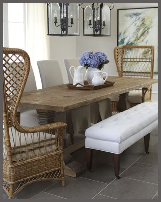 Slipcovered Chairs, Dining Bench And Wicker Wingback Chairs.