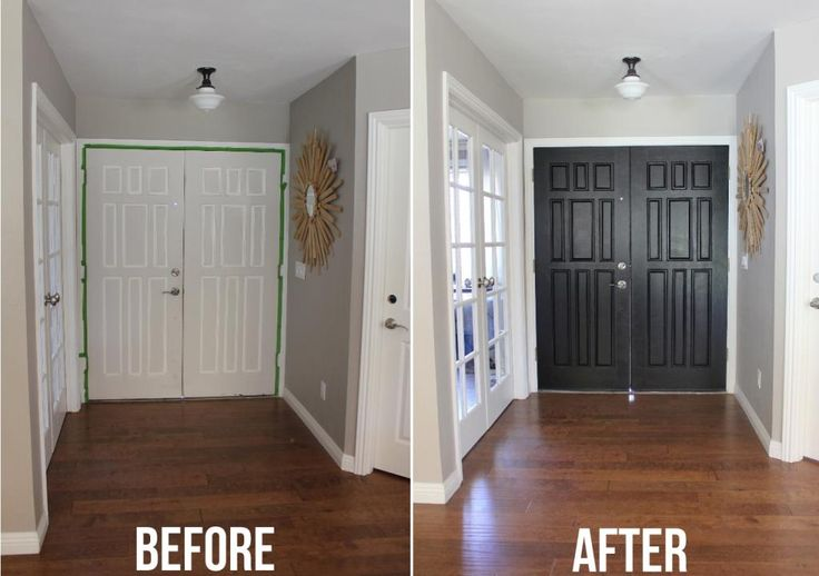 Black door before and after painting inside of front door black diy pinterest discover for Best white interior trim paint