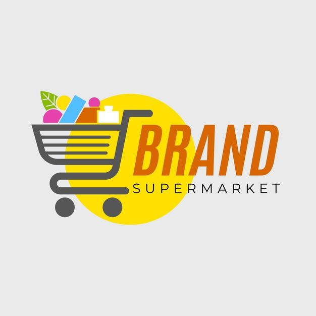 Supermarket Logo Template With Shopping Cart Supermarket Logo Shopping Cart Logo Supermarket Design