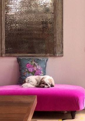 Hot Pink Ottoman and great vintage silvered mirror, very Parisian apartment but LOVE the dog.