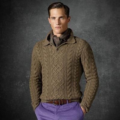 Хомякоз-арановый свитер свитер мужской свитер с аранами свитер спицами Ralph Lauren Ральф Лорен мои схемы без описания