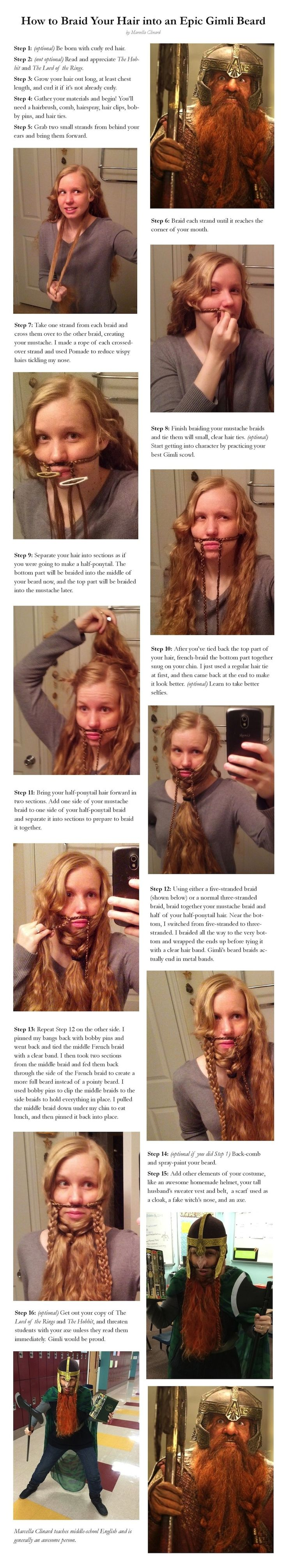 This Is How To Braid Your Hair Into A Gimli Beard-- This is awesome. @lonir Your hair color and length and texture would be perfect. :)