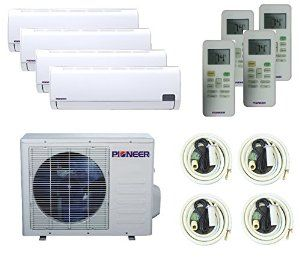 Amazon.com - Pioneer Ductless QUAD (4) ZONE Multi Split INVERTER Air Conditioner, Heat Pump, 16 SEER, Cooling, Heating, Dehumidification, Ventilation. Including 4 Indoor units with 16 Foot Installation Kits. 208~230 VAC. - Single Room Air Conditioners