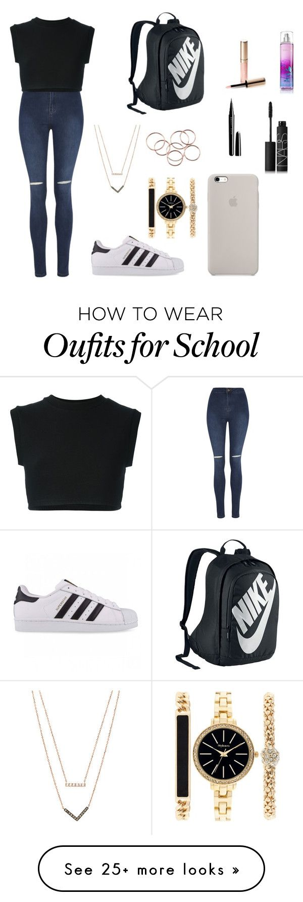 """""""school"""" by ajna-bajrami on Polyvore featuring George, adidas Originals, NIKE, Michael Kors, Style & Co., By Terry, Marc Jacobs and NARS Cosmetics"""