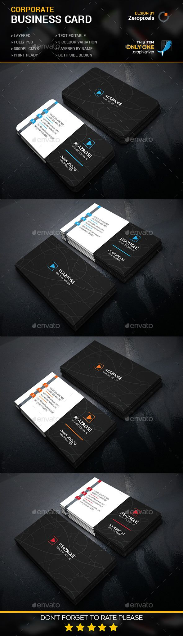 Modern Corporate Business Card Template #design #print Download: http://graphicriver.net/item/modern-corporate-business-card/11930068?ref=ksioks
