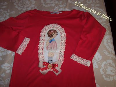 EL RINCONCITO DE MARISA: Camiseta con puntillas y tela de muñeca