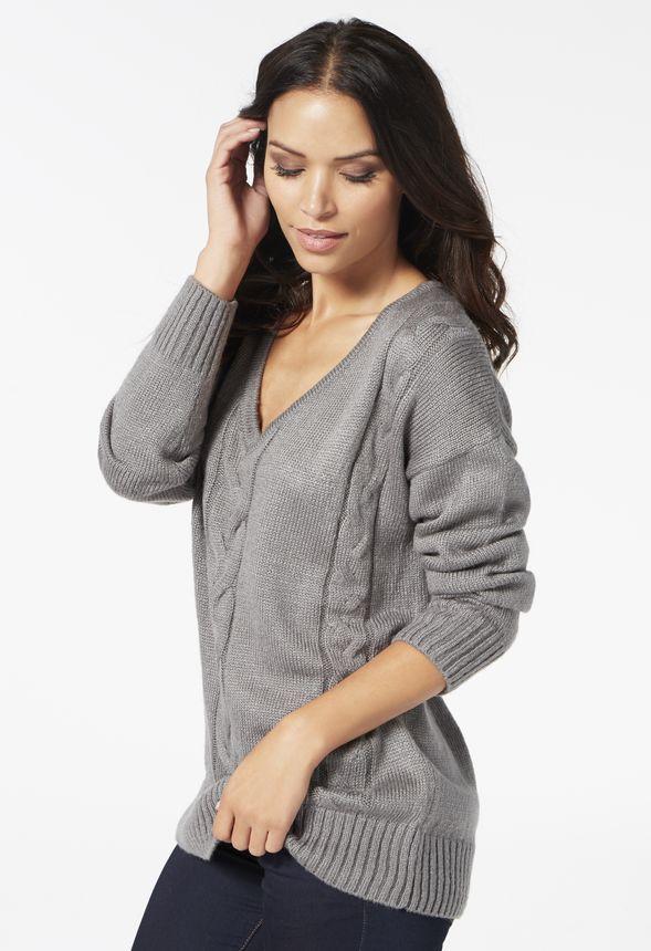 Low V-Neck Sweater Kleidung in Charcoal Heather - günstig kaufen bei JustFab