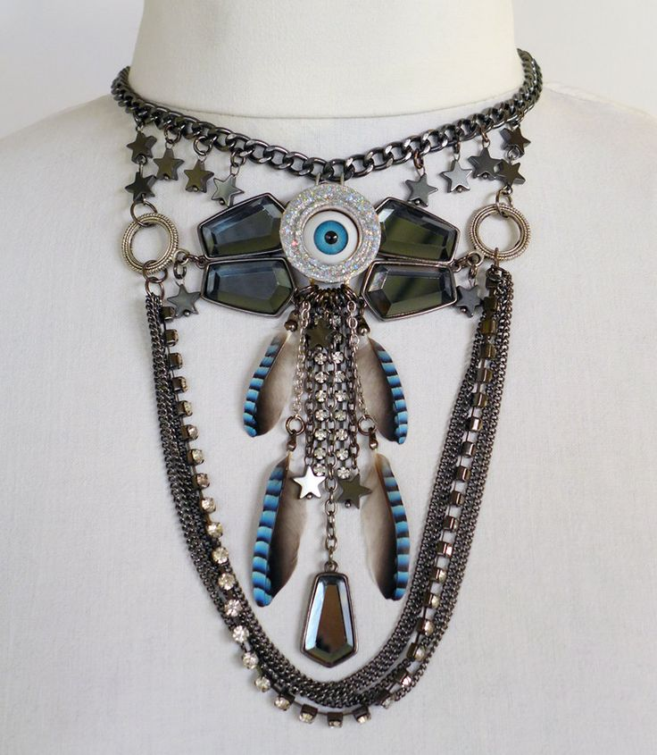 Unique Steampunk Evil Eye Necklace. Blue jay feather and