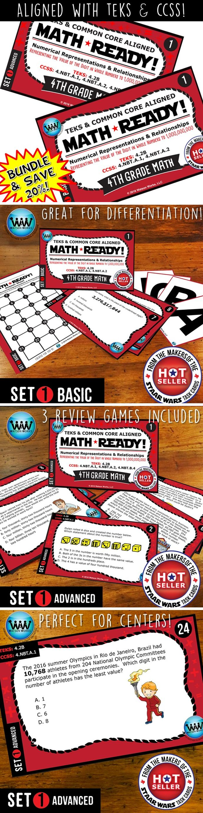 SAVE 20% WHEN YOU PURCHASE THIS BUNDLE (includes both our Basic & Advanced MATH READY Representing Value of the Digit to 1 Billion Task Cards sets)! Both sets include 24 task cards w/ multiple choice answers. The BASIC set helps your students practice & apply their understanding of place value at a simpler, basic level with shorter questions, while the ADVANCED set features rigorous, higher-level thinking questions w/ longer word problems, making them great for differentiation. $5.60