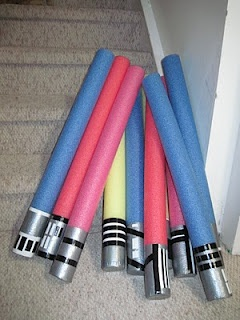 Made these for Isaiah's 8th birthday party & they were a hit! We put a dowel in the middle to make it stronger. We liked these better then real lightsabers because they don't hurt as much, especially if you have littles at the party.