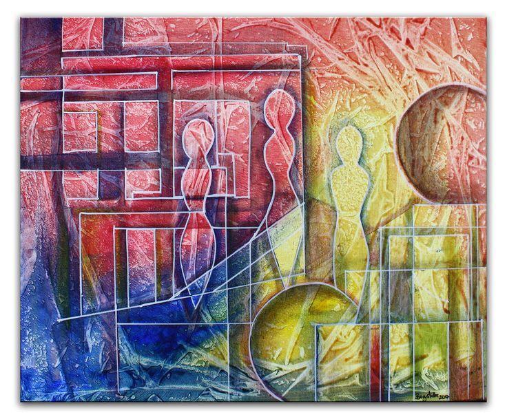 BURGSTALLER abstrakte Acrybilder rot gelb blau Kunst Gemaelde Planeten 50x60
