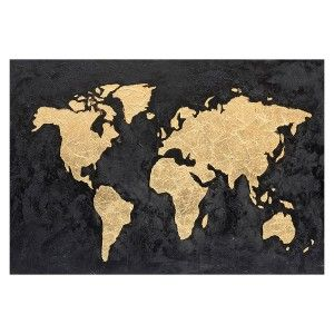 World map Gold 120x80 cm