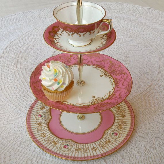 Alice Sings in Pink 3 Tier Cupcake Tower Vintage China Cake Plate Stand or Centerpiece Display with Cup u0026 Saucer for Wonderland Tea Party & 191 best my High Tea for Alice stands images on Pinterest | High tea ...