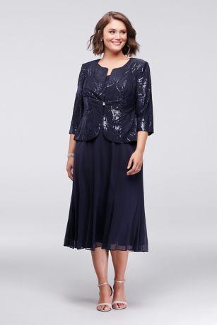 a30ebe42a49 10961821 - Sequined Chiffon Tea-Length Dress and Jacket Set