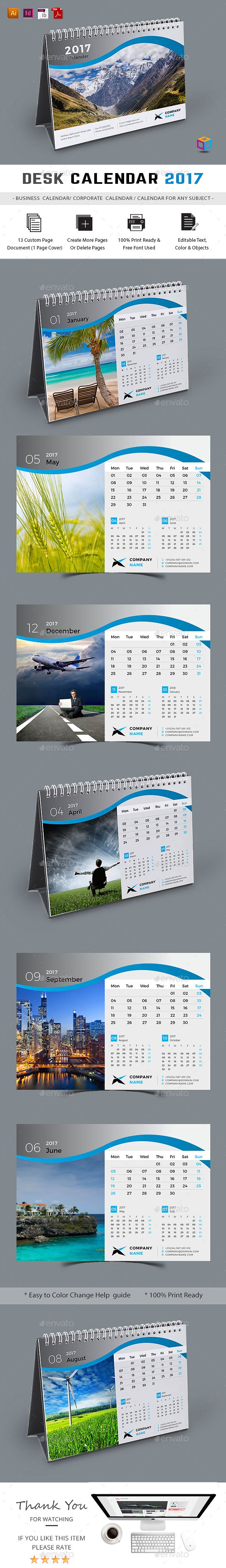 Desk Calendar 2017 Template InDesign INDD, AI Illustrator                                                                                                                                                                                 More