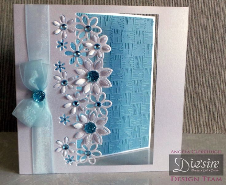 Angela Clerehugh – Die'sire Fancy Edge'ables – 6 x 6 Card – Die'sire Floral Dance Edge'ables – Centura Pearl – Core'dinations Distress Collection Card – Textures Embossing Folder Basket Weave – Collall Tacky Glue – Gems – Ribbon - #crafterscompanion