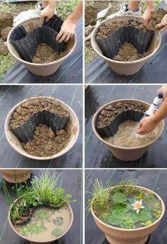 Mini Gartenteich selber machen. Noch mehr tolle Ideen gibt es auf www.Spaaz.de