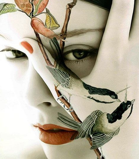 COUCOU....I see you. Birds on branch face painting by Imagine Studio