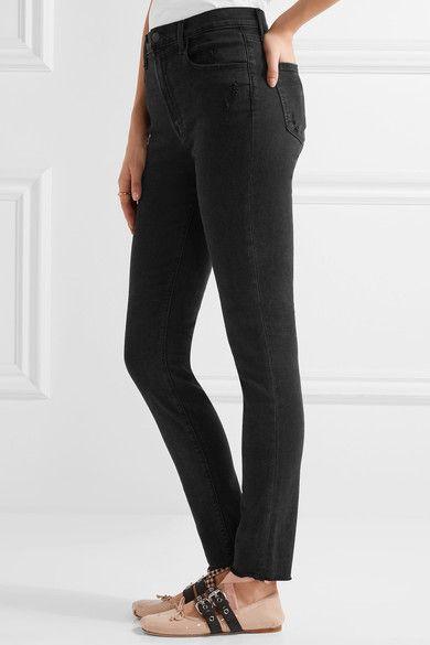 J Brand - Carolina Distressed High-rise Skinny Jeans - Black - 30