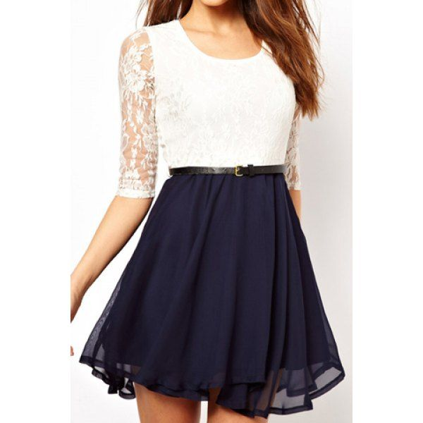 Ladylike U Neck Lace Splicing Ruffled Half Sleeve Women's Dress (WHITE,M) in Lace Dresses   DressLily.com