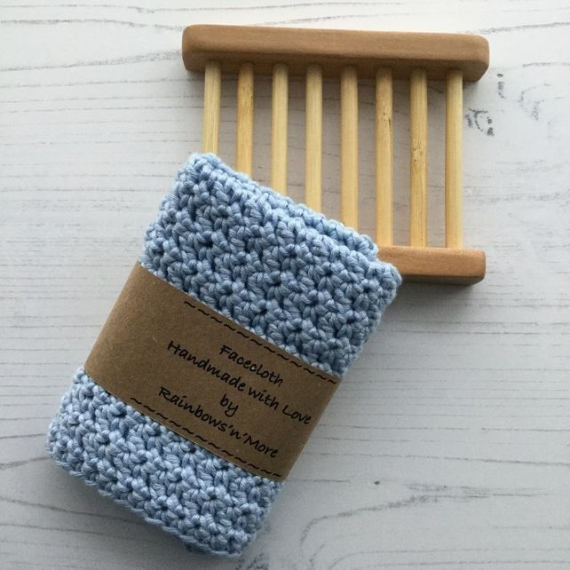5eef784292a Crocheted Facecloth and Washcloth in Blue