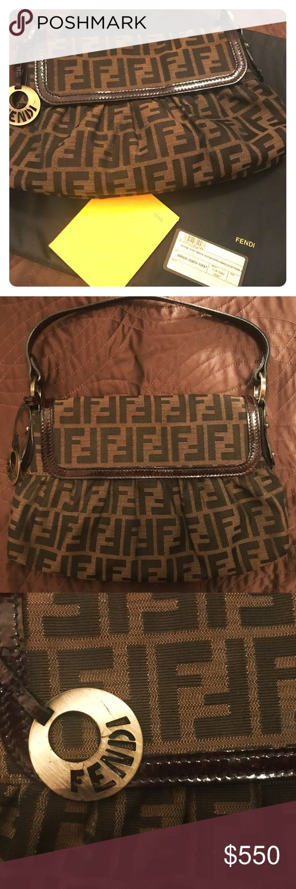 Authentic Fendi Zucca Shoulder handbag Beautiful Authentic Fendi Zucca shoulder bag. Gently Used and well taken care of. I keep my handbags in their dust bags and in a proper storage place. Comes with papers shown/ authenticity card and dust bag. Comes from a smoke free home. You will not be disappointed. Looks new!! Original price was 799.99 No markings inside or out. Offers accepted Fendi Bags Shoulder Bags