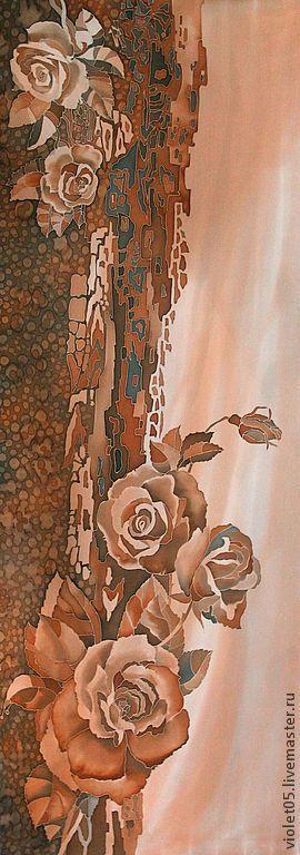 Купить 'Кофейные розы' Палантин или панно батик - Батик, ручная роспись, авторская одежда