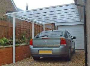 CARPORT CANOPY LEAN TO, COMPLETE KIT, VARIOUS  SIZES, 3.5m & 4m 16mm POLYCARB