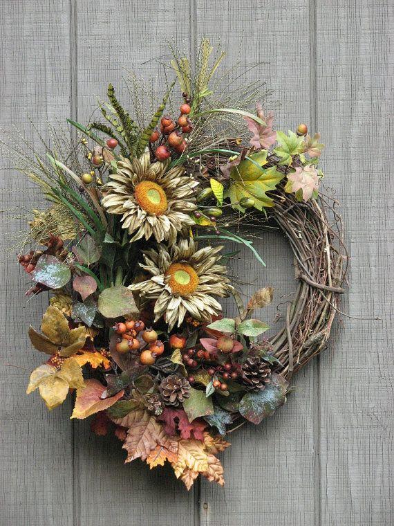 Fall Wreath Sunflower Wreath Front Door Wreath