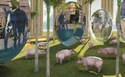"""Utsnitt fra ferskt bilde; """"11 gris og 3 egg"""".  (Details from artwork """"11 pigs and 3 eggs"""".)"""