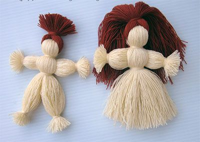 кукла из ниток мастер класс, изготовление куклы из ниток