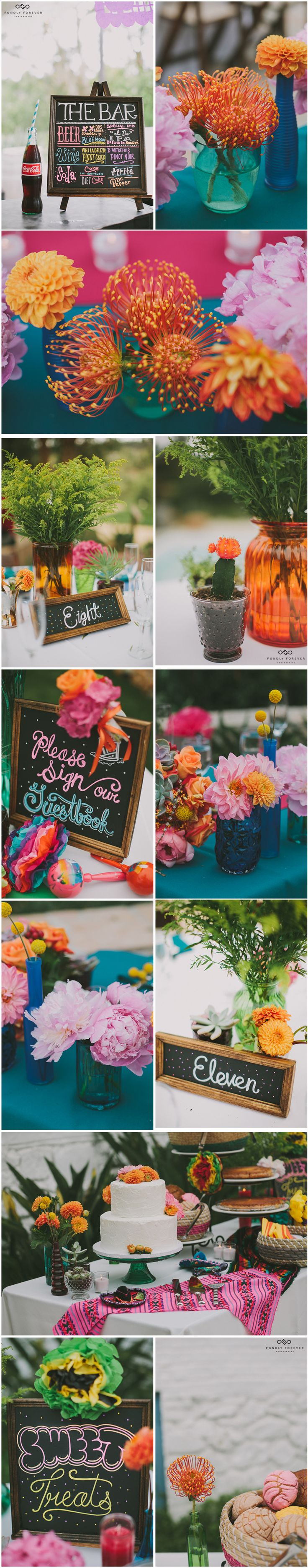 Colorful fiesta-themed flowers and reception decor.