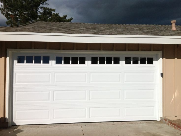 Steel Long Panel Garage Door With Glass Raised Panel