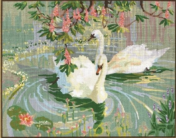 Anchor Tapestry/Needlepoint Canvas - Swans - Anchor Budget Tapestry Tapestry Kits Animals/Birds - Atlascraft