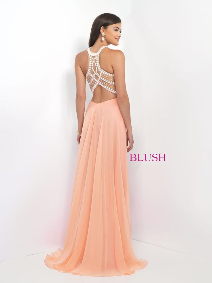Chiffongown that features a fully beaded bodice accented with sheer illusion panels and alluring back treatment. Blush Prom