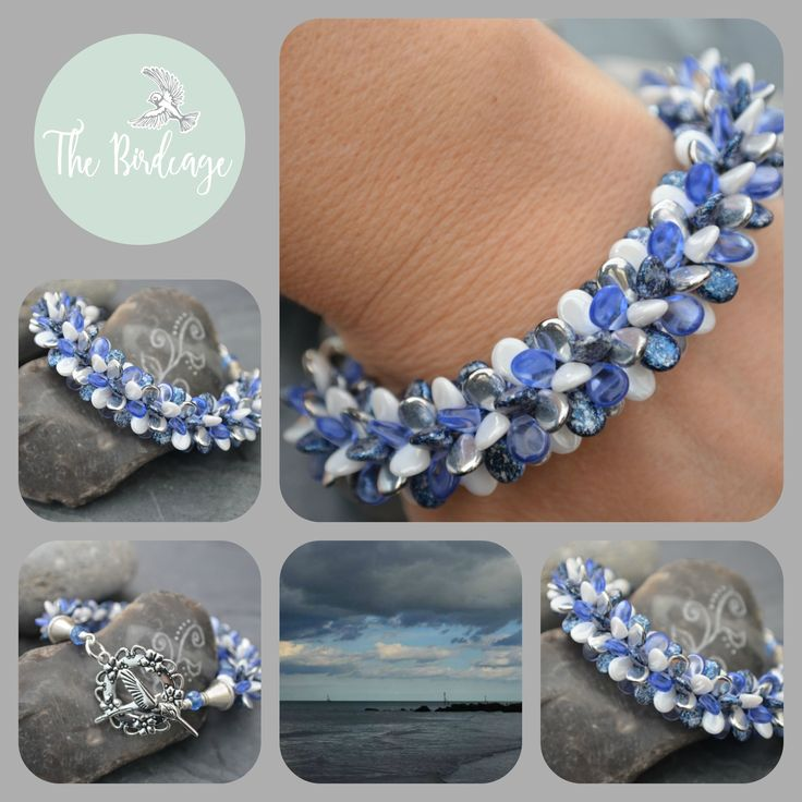Shades of Blue & White Kumihimo Bracelet www.facebook.com/the-birdcage